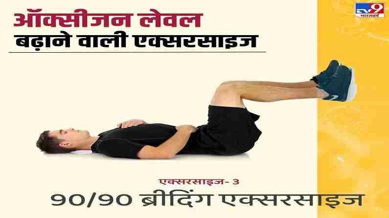 90/90 ब्रिदिंग एक्सरसाईज - या व्यायामामध्ये आपल्याला जमिनीवर झोपावे लागेल आणि त्यानंतर आपले पाय खुर्चीवर ठेवू शकता किंवा भिंतीचा आधार घेऊ शकता. यानंतर, एक हात छातीवर आणि एक हात पोटावर ठेवा आणि पोट फुगवा. यानंतर, आपल्याला श्वास बाहेर सोडायचा आहे.