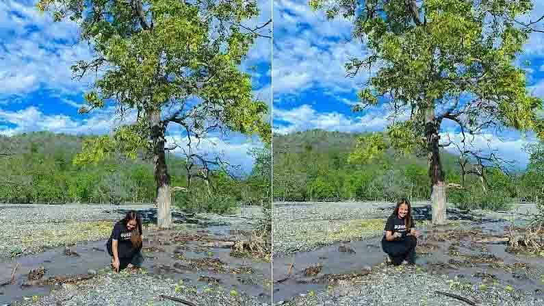 या फोटोंमध्ये नेहा एका झाडाखाली उभी आहे, जिथे एक नदीही वाहते. या फोटोंमध्ये आजूबाजूचा निसर्ग बराच सुंदर दिसत आहे.
