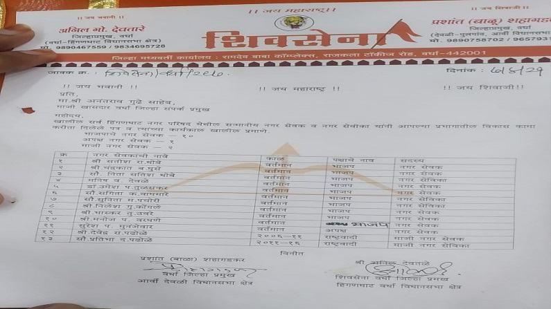 Hinganghat BJP corporators joins Shiv Sena