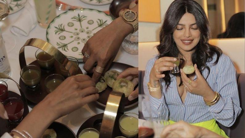 आता प्रियंकानं सोना रेस्टॉरंटमधील काही फोटो तिच्या इन्स्टाग्रावर शेअर केले आहेत. या फोटोंमध्ये ती पाणीपुरी आणि इतर काही खाद्य पदार्थांचा आनंद घेत आहे.