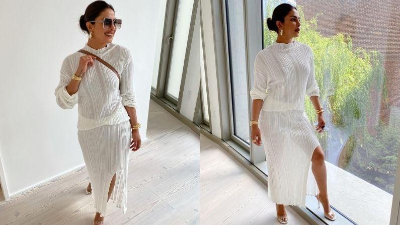 प्रियांकाने पांढऱ्या रंगाचा थाई-स्लिट ड्रेस कॅरी केला होता ज्यामध्ये ती खूपच आकर्षक दिसतेय. प्रियांकानं या ड्रेससह ब्लॅक कलरचे गॉगल कॅरी केले आहेत.