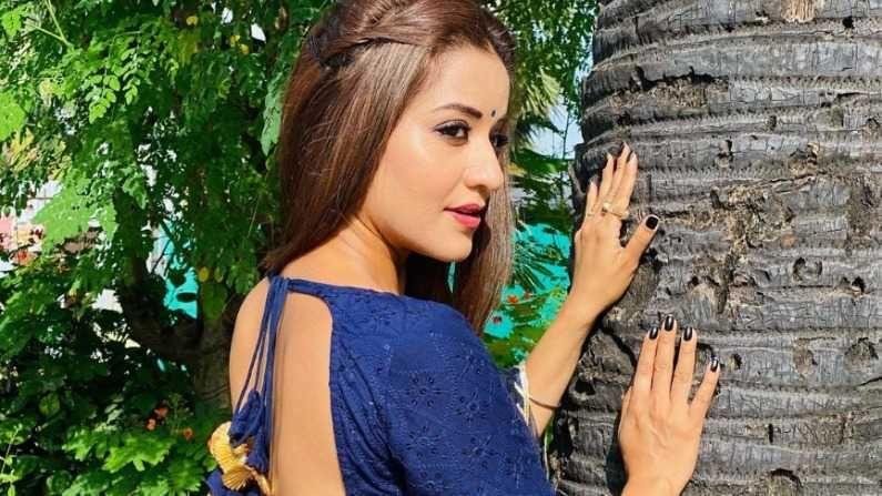 मोनालिसानं इन्स्टाग्रामवर शेअर केलेल्या फोटोमध्ये ती निळ्या रंगाच्या ड्रेसमध्ये दिसतेय.