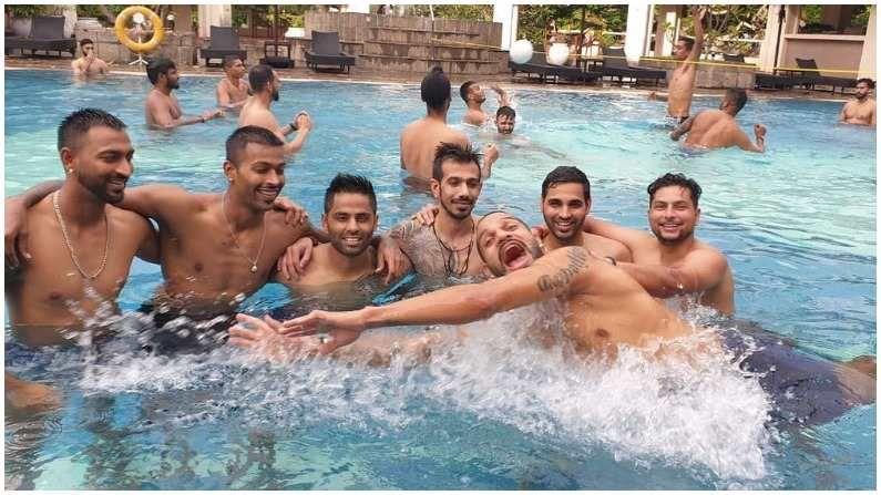 शिखर धवनच्या (Shikhar Dhawan) नेतृत्त्वातील भारतीय संघ (India tour of Sri Lanka) श्रीलंका दौऱ्यावर आहे. टीम इंडिया श्रीलंकेच्या दौऱ्यात तीन वनडे आणि तीन ट्वेन्टी-20 सामने खेळणार आहे. हे सर्व सामने कोलंबोमधील आर. प्रेमदासा आंतरराष्ट्रीय क्रिकेट स्टेडियमवर होणार आहेत. 13 जुलैपासून वन डे मालिकेला सुरुवात होत आहे. भारतीय संघाने हॉटेलमधील स्वीमिंग पूलमध्ये मजा मस्ती केली. (Photo- Instagram/ Yuzi Chahal)