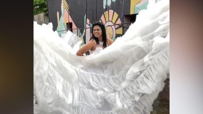 या फोटोमध्ये तिनं पांढऱ्या रंगाचा वेडिंग गाऊन परिधान केला आहे. सुंदर फोटोंसोबतच तिचे काही क्लासी व्हिडीओ देखील समोर आले आहेत. या व्हिडीओंमध्ये ती ड्रेस फ्लॉन्ट करताना दिसतेय.