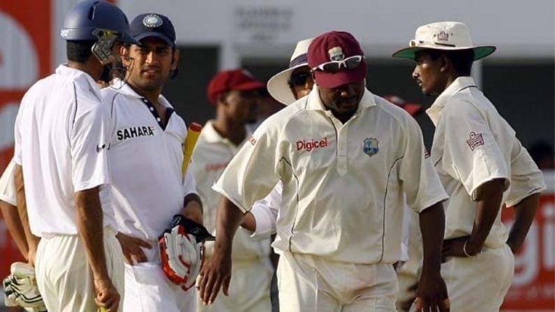 कारकिर्दीच्या सुरुवातीच्या काळात महेंद्रसिंग धोनीने वेस्ट इंडिज दौर्यावर स्फोटक खेळी केली. जून 2006 मध्ये भारताच्या दुसर्या डावात त्याने 52 चेंडूंत 4 चौकार आणि 6 षटकारांसह 69 धावा केल्या. तो ज्या चेंडूवर ईऊट झाला तो ही बॉल सीमारेषेपार पोहोचत होता डॅरेन गंगाने अप्रतिम झेल पकडला. या कॅचवरुन बराच गोंधळही. हे रिप्लेमध्ये स्पष्टपणे दिसत नव्हते. यादरम्यान ब्रायन लाराने धोनीशी बराच वेळ चर्चा केली आणि त्यानंतर धोनी पॅवेलियनमध्ये परतला.