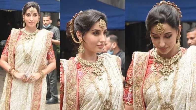 बॉलिवूडची प्रसिद्ध अभिनेत्री आणि मॉडेल नोरा फतेही (Nora fatehi) हे सध्या सोशल मीडियावर आपल्या नवीन फोटोंमुळे चर्चेत आली आहे. अभिनेत्री एका नवीन अवतारात दिसली होती. नोराने आज बंगाली स्टाईलमध्ये साडी परिधान केली होती. तिला मुंबईत स्पॉट केले गेले.