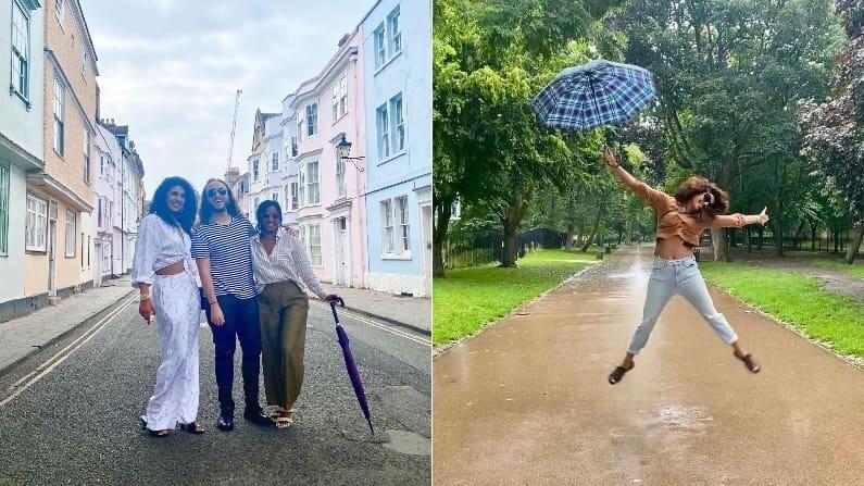 बॉलिवूड अभिनेत्री प्रियांका चोप्रा सध्या लंडनमध्ये धमाल करताना दिसतेय. तिनं सोशल मीडियावर अनेक फोटो शेअर केले आहेत ज्यात ती कधी पावसात मस्ती करतेय तर कधी मित्रांसोबत चालताना दिसली आहे.