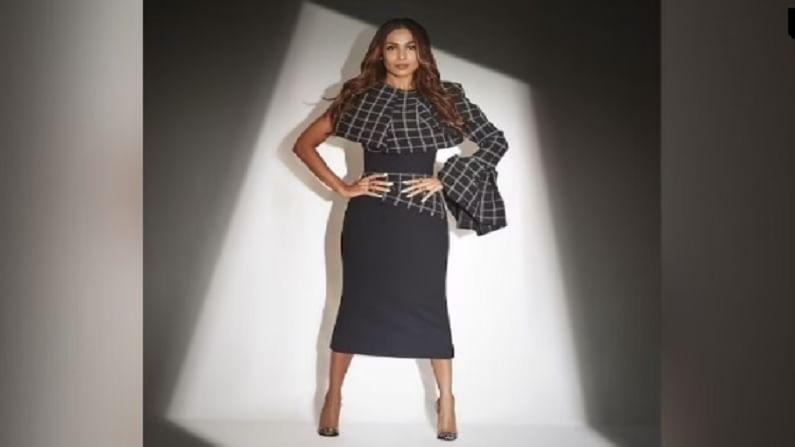 मलायकाचा हा बॉडीकॉन मिडी ड्रेस ऑस्ट्रेलियन फॅशन डिझायनर oni Maticevski च्या लेबलचा आहे. ज्यात चेक प्रिंट देण्यात आले आहेत.