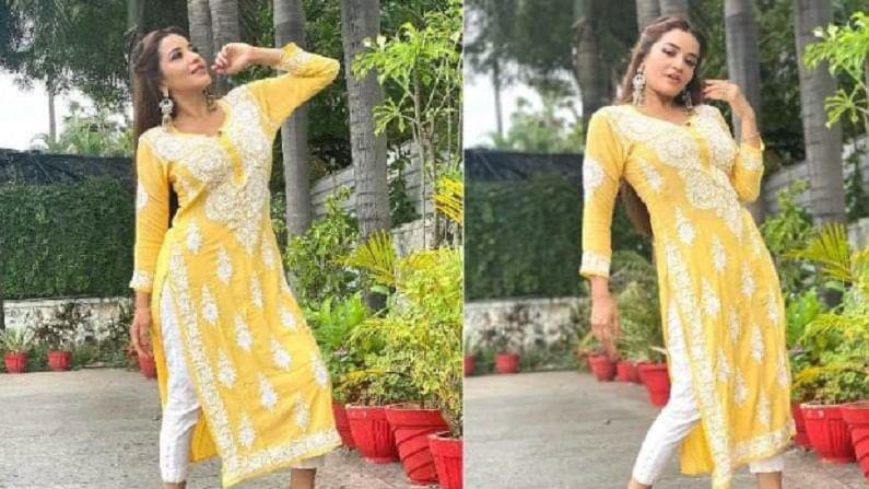 भोजपुरी अभिनेत्रीने शेअर केलेल्या फोटोंमध्ये ती पिवळ्या रंगाच्या सूटमध्ये दिसत आहे.