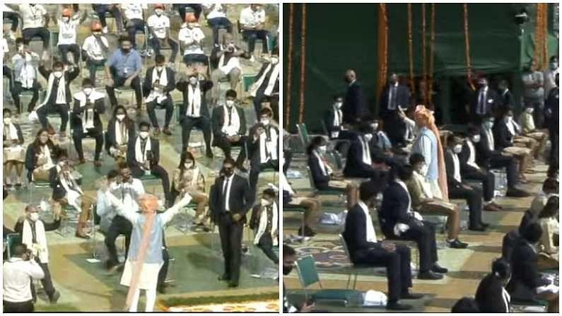 स्वातंत्र्यदिनाच्या भाषण सोहळ्यानंतर, पीएम मोदींनी लाल किल्ला सोडताना टोकियो ऑलिम्पिकमध्ये भारताचे प्रतिनिधित्व करणाऱ्या सर्व खेळाडूंची भेट घेतली. त्यांनी त्यांना हात उंचावून नमस्कार केला आणि त्यांचा आदर केला.