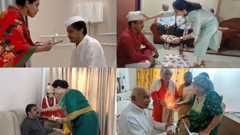 मुंबईच्या महापौर कस्तुरबा रुग्णालयात रक्षाबंधन साजरा करत आहेत , डॉक्टर आणि वोर्डबॉय , नर्सेससोबत हा सण साजरा केला.
