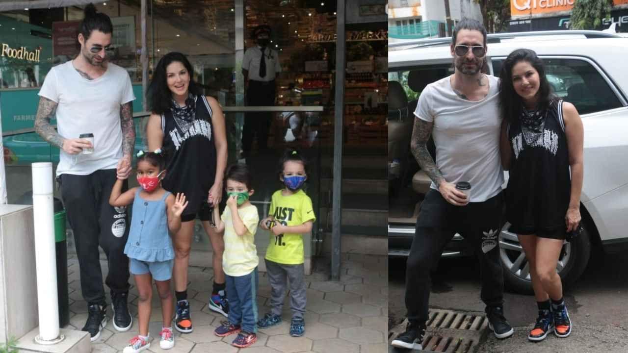 यावेळी सनी लिओनी सोबत तिचा पती आणि तिन्ही मुलं होते. सनीनं मीडियाला फोटोसाठी थांबून पोज सुद्धा दिल्या.