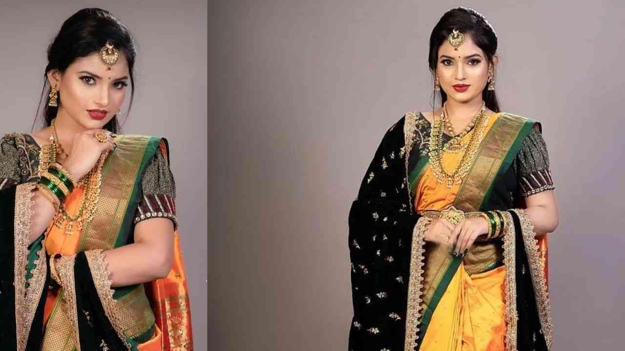 आजपासून नवरात्रोत्सव सुरू झाला आहे. आजचा रंग पिवळा आहे त्यामुळे सगळेच या रंगाचे कपडे परिधान करून फोटो शेअर करत आहेत. अशावेळी 'शालू' कशी मागे राहील बरं! 'शालू' फेम अभिनेत्री राजेश्वरी खरात (Rajeshwari Kharat) हिने देखील पारंपारिक वेशात आणि मराठी साज करत फोटो शेअर केले आहेत.