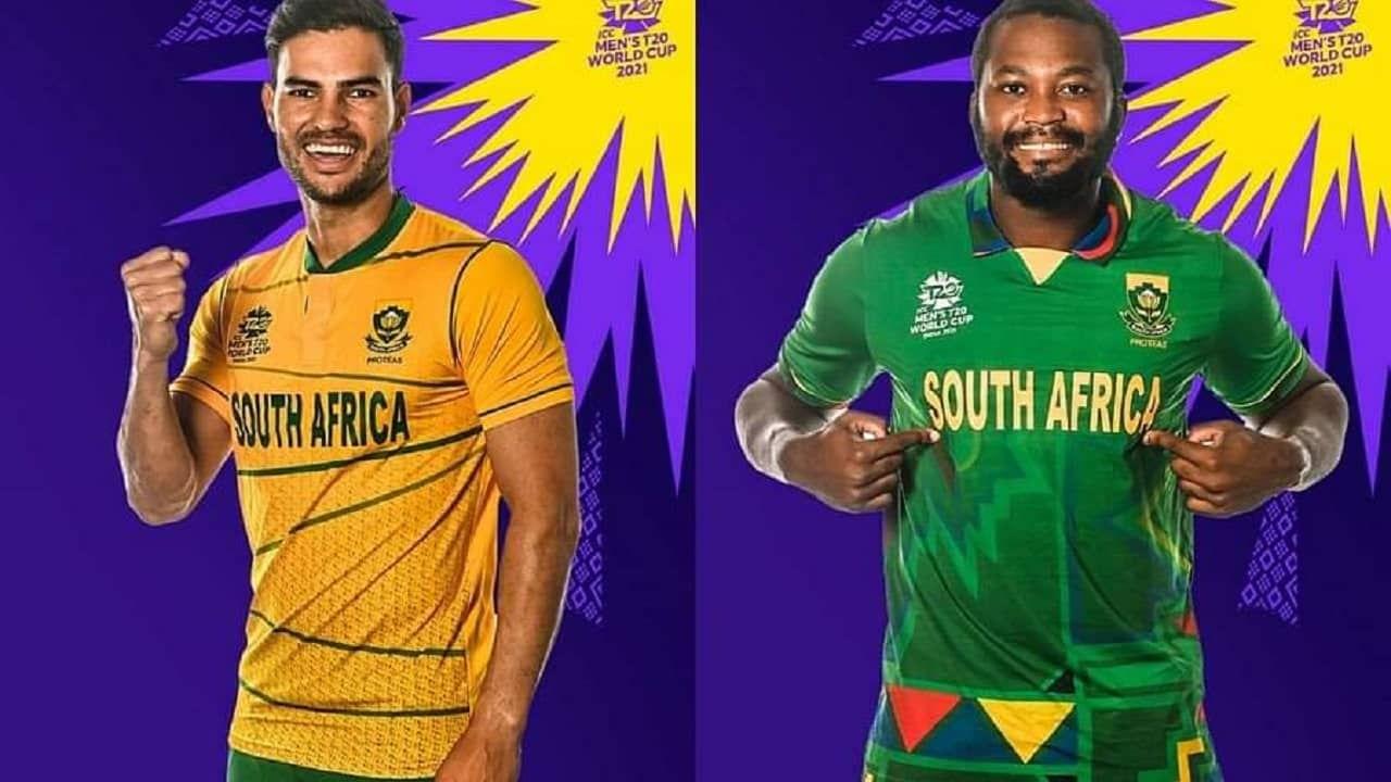 दक्षिण आफ्रीका संघाने देखील टी20 वर्ल्ड कपसाठी दोन जर्सीस लॉन्च केल्या आहेत. यातील एक जर्सी हिरव्या रंगाची आहे तर एक पिवळ्या रंगाची आहे. यातील हिरव्या जर्सीला आदिवासी प्रकारची प्रिंट देण्यात आली आहे.