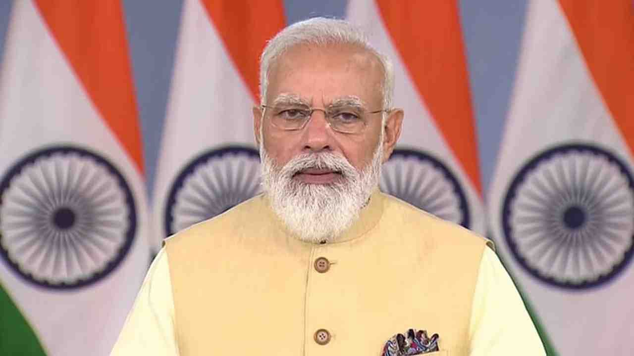 PM Narendra Modi addressing at launch of 7 Defence Companies